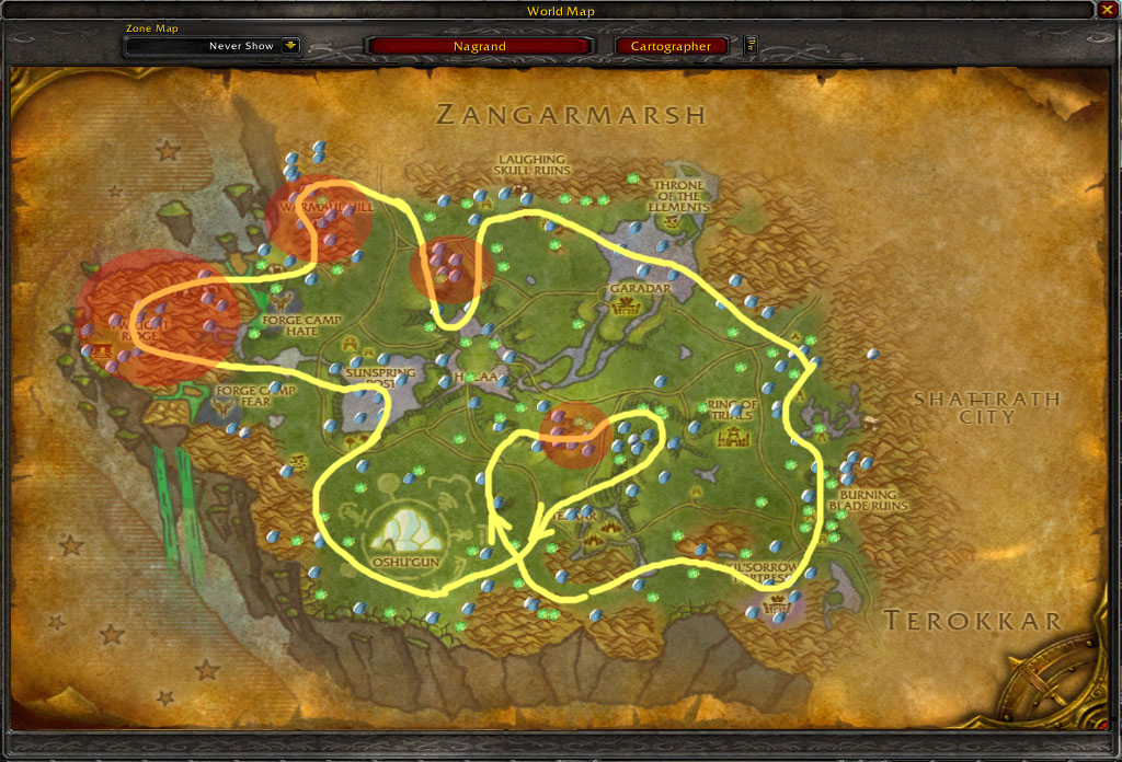 Nagrand mining guide's map