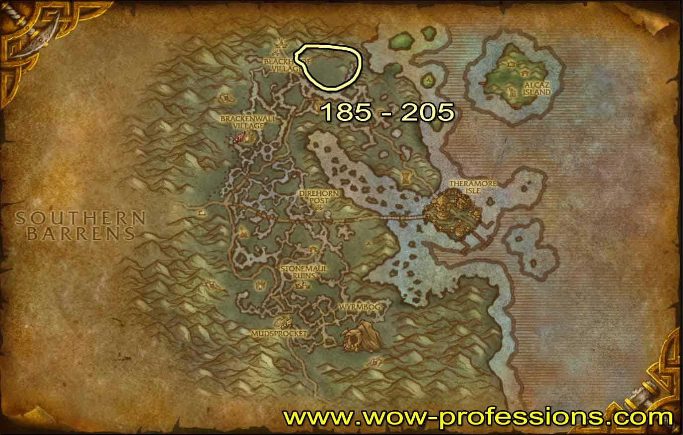 Guía de Desuello 1 -525 Dustwallow-skinning-map
