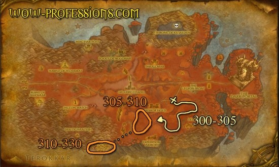 Hellfire Peninsula skinning guide's map